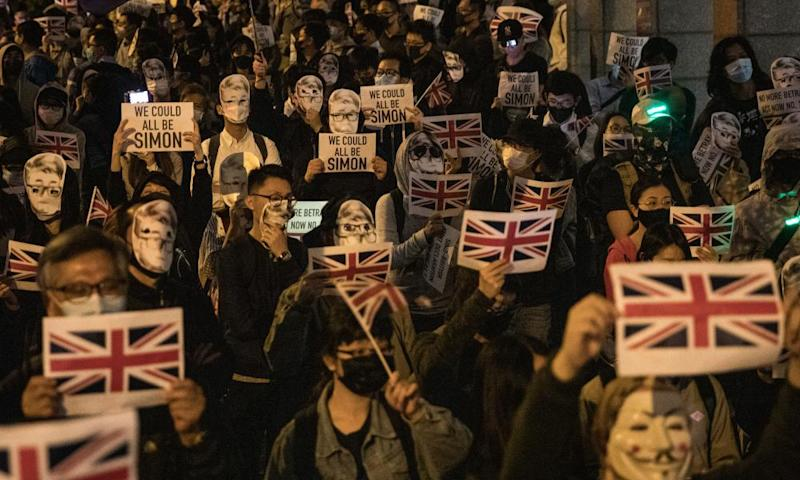 A Hong Kong protest against China's detention last year of former UK consulate employee Simon Cheng.
