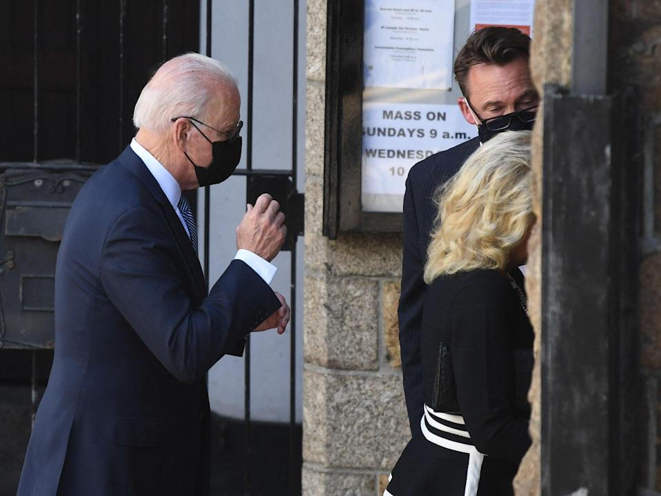 The US president and his wife went to a church in St Ives on the final day of the G7 summit (AFP via Getty Images)