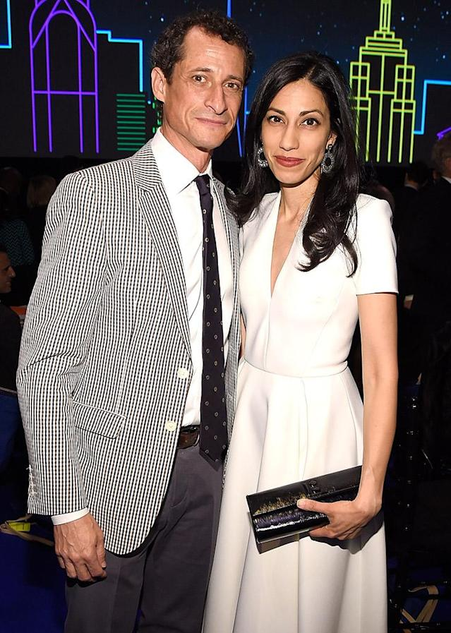 Anthony Weiner and Huma Abedin attend a benefit together on May 9, 2016, in New York City. (Photo: Kevin Mazur/Getty Images)