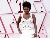US actress Viola Davis rocked a white Alexander McQueen gown with cutouts