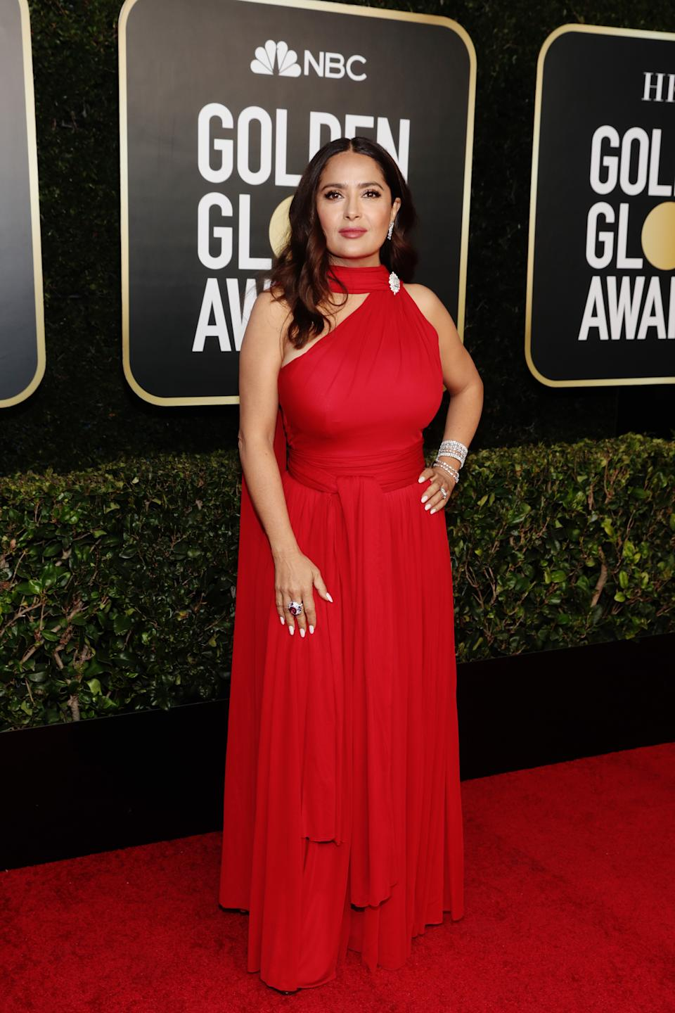 Salma Hayek attends the 78th Annual Golden Globe Awards held at The Beverly Hilton and broadcast on February 28, 2021 in Beverly Hills, California
