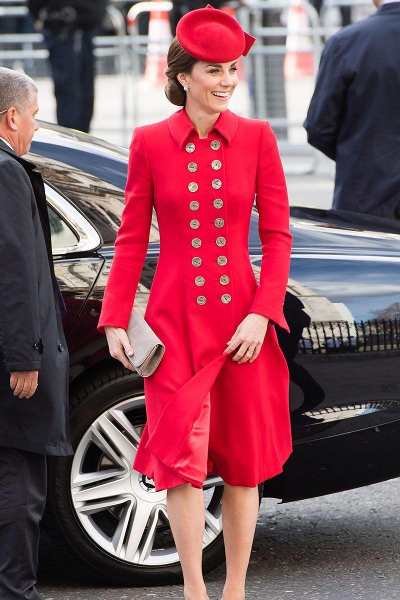<p>The Duchess wore a red Catherine Walker coat with a matching dress and pillbox hat for Commonwealth Day Service with Queen Elizabeth in Westminster Abbey. </p>