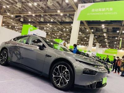 The Xpeng P7 intelligent sedan on show at GTC China 2019