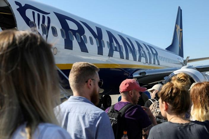 Passengers boarding a Ryanair flight at the airport in Gdansk, Poland.