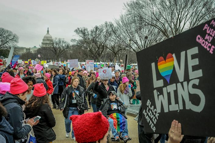 <p>Thousands of demonstrators gather in the Nation's Capital for the Women's March on Washington to protest the policies of President Donald Trump. January 21, 2017. (Photo: Mary F. Calvert for Yahoo News) </p>