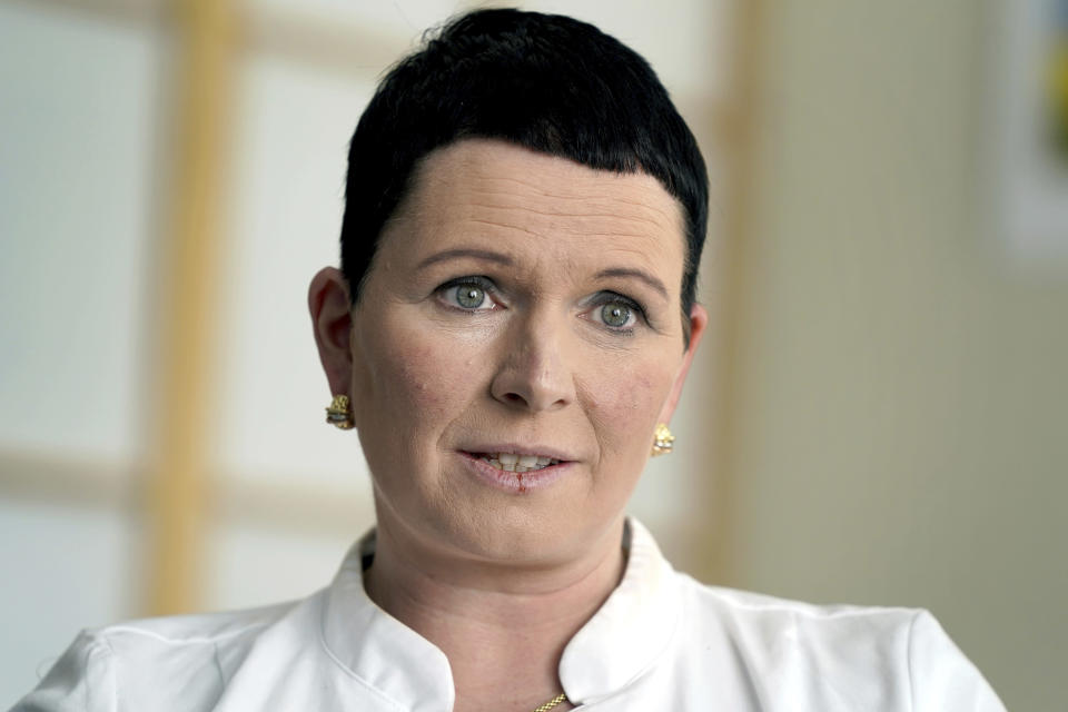 Joerdis Frommhold, head doctor of the 'MEDIAN Clinic Heiligendamm', speaks during an interview with the Associated Press in Heiligendamm, northern Germany, Wednesday, April 14, 2021. The MEDIAN Clinic, specialized on lung diseases, treats COVID-19 long time patients from all over Germany. (AP Photo/Michael Sohn)