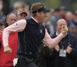 FILE - Europe's Ian Poulter reacts on the 14th hole during a practice round prior to the 2010 Ryder Cup golf tournament at the Celtic Manor golf course in Newport, Wales, in this Thursday, Sept. 30, 2010, file photo. (AP Photo/Matt Dunham, File)
