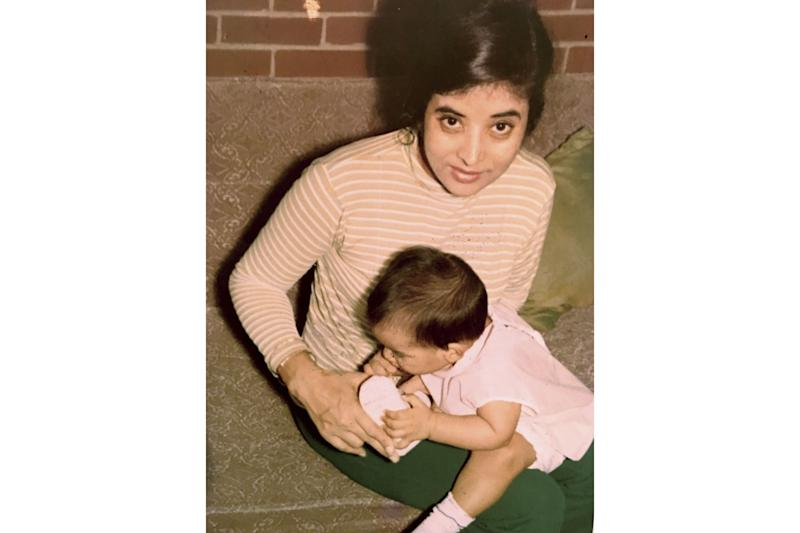 Cheetie Kumar as a baby with her late mother, Adarsh, who showed her love through flavorful meals made from scratch | Courtesy of Cheetie Kumar
