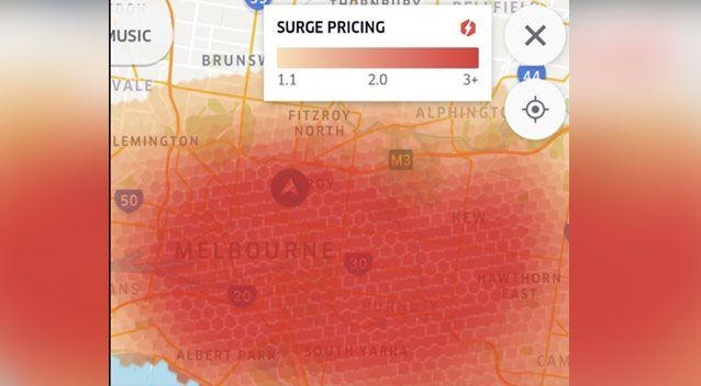 Frustrated Melbourne train commuters have slammed Uber for surge pricing during train outage. Photo: Twitter