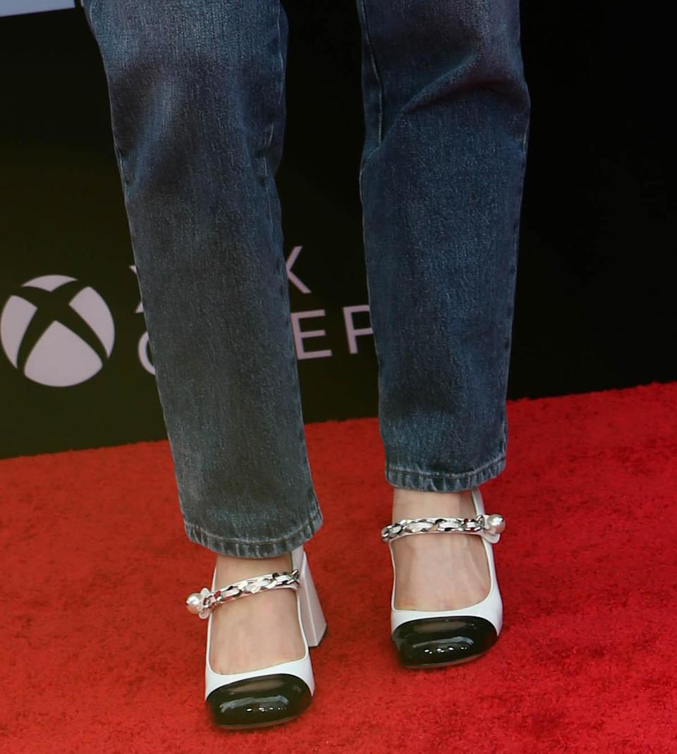"""Detail of Sadie Sink's shoes at the premiere of """"Free Guy"""" at AMC Lincoln Square Theater in New York, NY on August 03, 2021. - Credit: Lexie Moreland for Variety"""