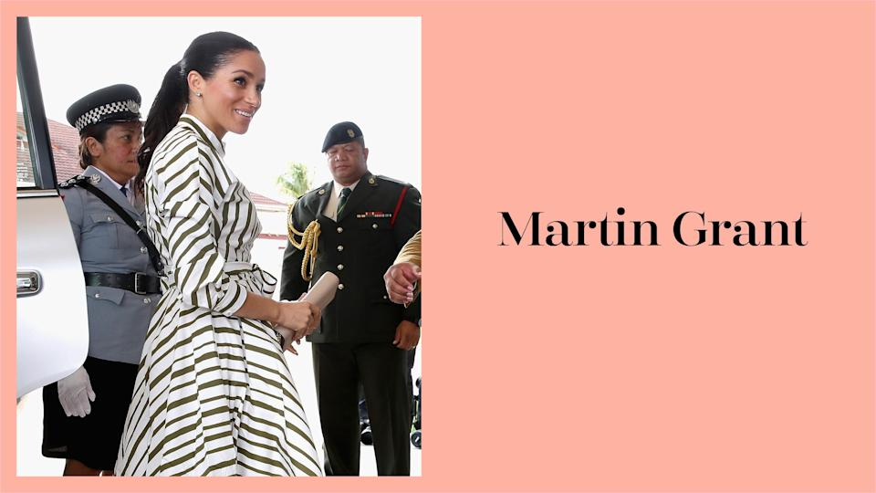 Meghan Markle wears a striped dress by Martin Grant in Tonga during the royal tour. (Photo: Getty Images)