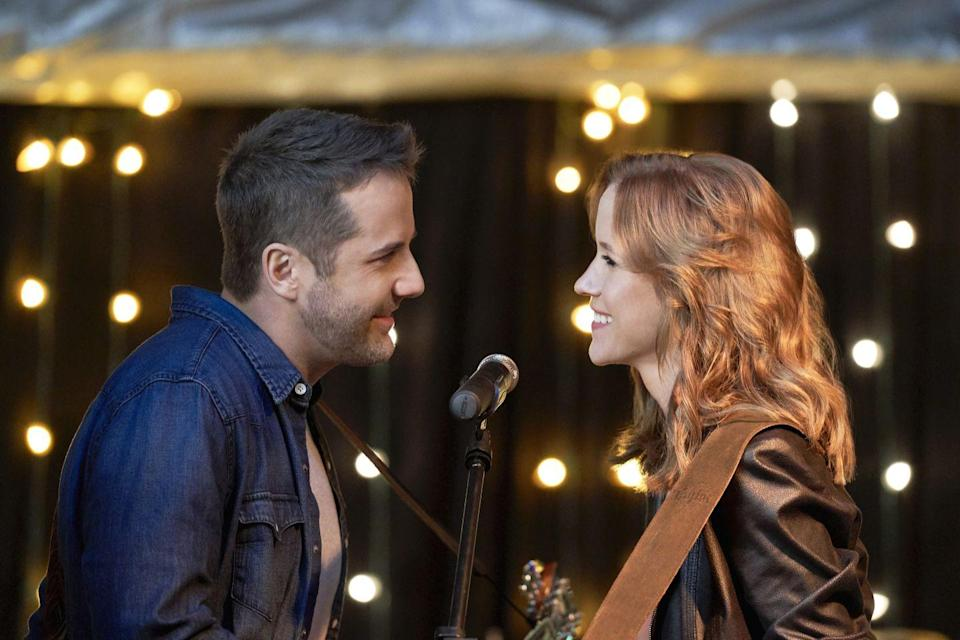 <p><strong>Saturday, October 3 at 9 p.m. on Hallmark Channel</strong></p><p>Shayna (played by <strong>Jessy Schram</strong>) is about to give up on her country music career before famed songwriter Grady (played by <strong>Niall Matter</strong>) enters the picture. He asks her to help write a love song for country music star Duke Sterling (played by <strong>Lucas Bryan</strong>t), which is all fine and good until things start heating up between Shayna and Duke. <br></p>