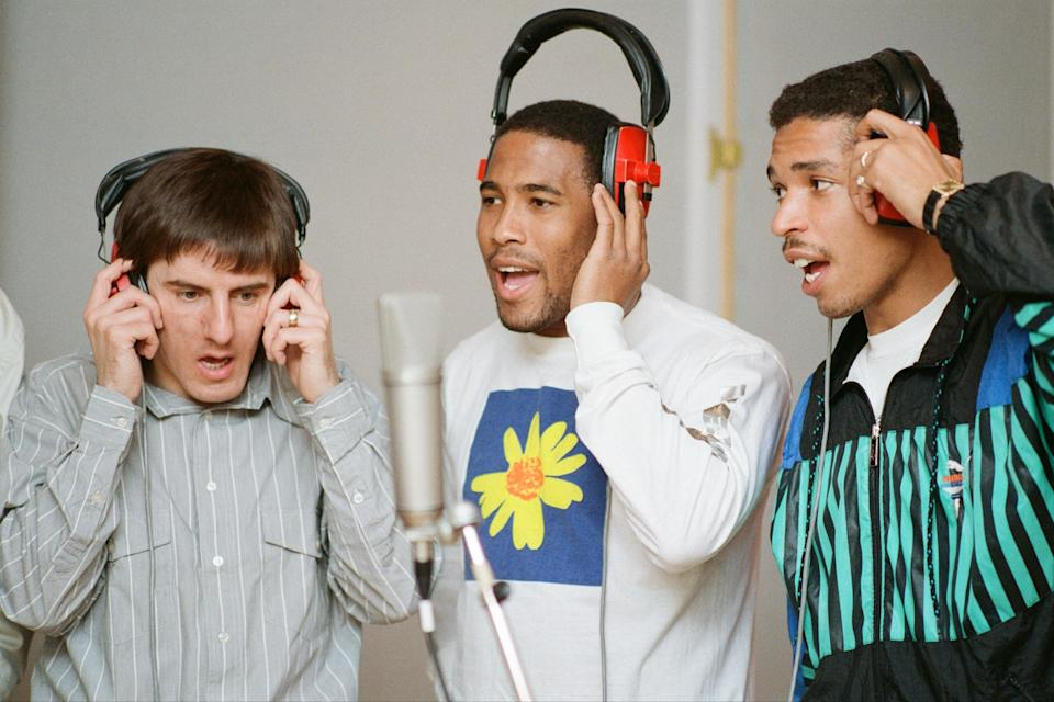 Peter Beardsley, John Barnes and Des Walker during the recording of World In Motion (Getty Images)