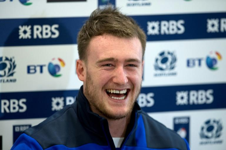 Scotland's Stuart Hogg speaks to journalists at a press conference in southwest London on March 10, 2017
