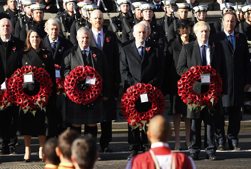 Liberal Democrat leader Jo Swinson, SNP Westminster leader Ian Blackford, Labour leader Jeremy Corbyn and Prime Minister Boris Johnson attending the National Service of Remembrance at the Cenotaph, Whitehall, London. Photo credit should read: Doug Peters/EMPICS