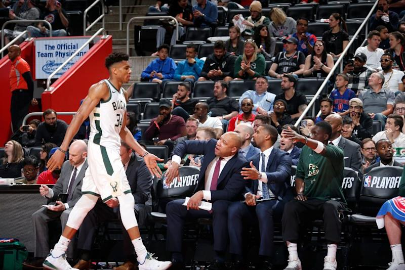 Bucks superstar Giannis Antetokounmpo earned another early rest against the Pistons. (Getty Images)