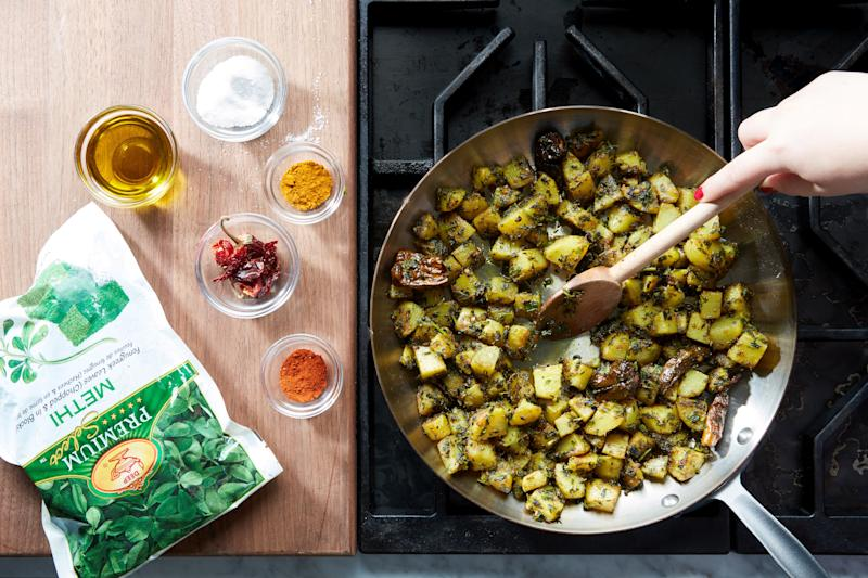 Potatoes are great. But they're even better with frozen fenugreek leaves.