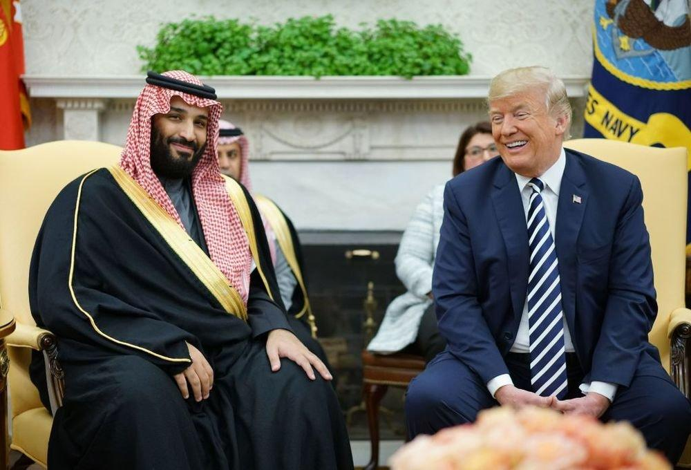 President Trump smiles after welcoming Crown Prince Mohammed bin Salman to the Oval Office in 2018. (AFP)