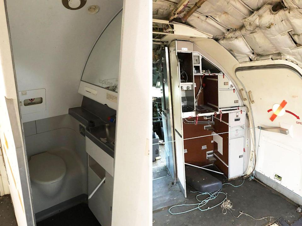 Front of plane bathroom and future kitchen diptych