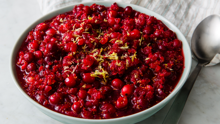 "<p>What can we say, it's a classic! This super-easy recipe gives fresh cranberries the extra citrusy zest of oranges and lemons. </p><p><em><a href=""https://www.delish.com/cooking/recipe-ideas/a22553444/homemade-fresh-cranberry-relish-recipe/"" rel=""nofollow noopener"" target=""_blank"" data-ylk=""slk:Get the recipe from Delish »"" class=""link rapid-noclick-resp"">Get the recipe from Delish »</a></em></p>"