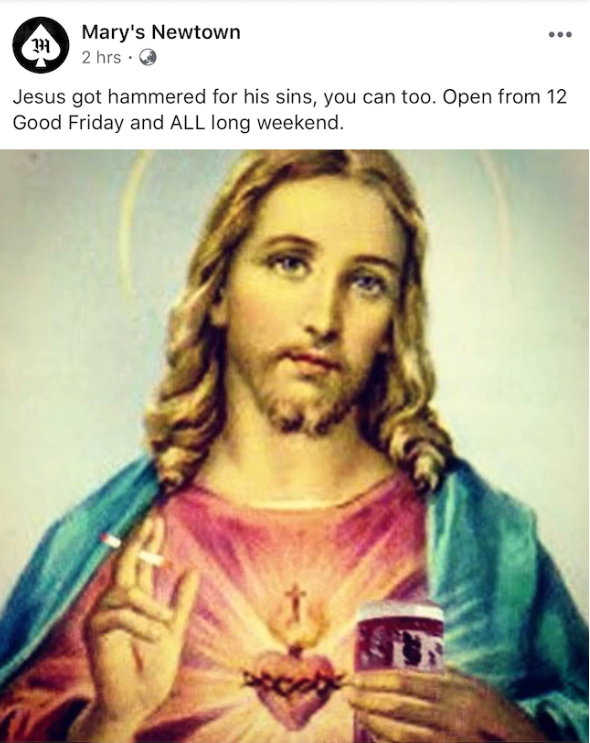 Mary's Newtown faced harsh backlash after it shared a sacrilegious post on Wednesday. Source: Facebook/Mary's Newtown