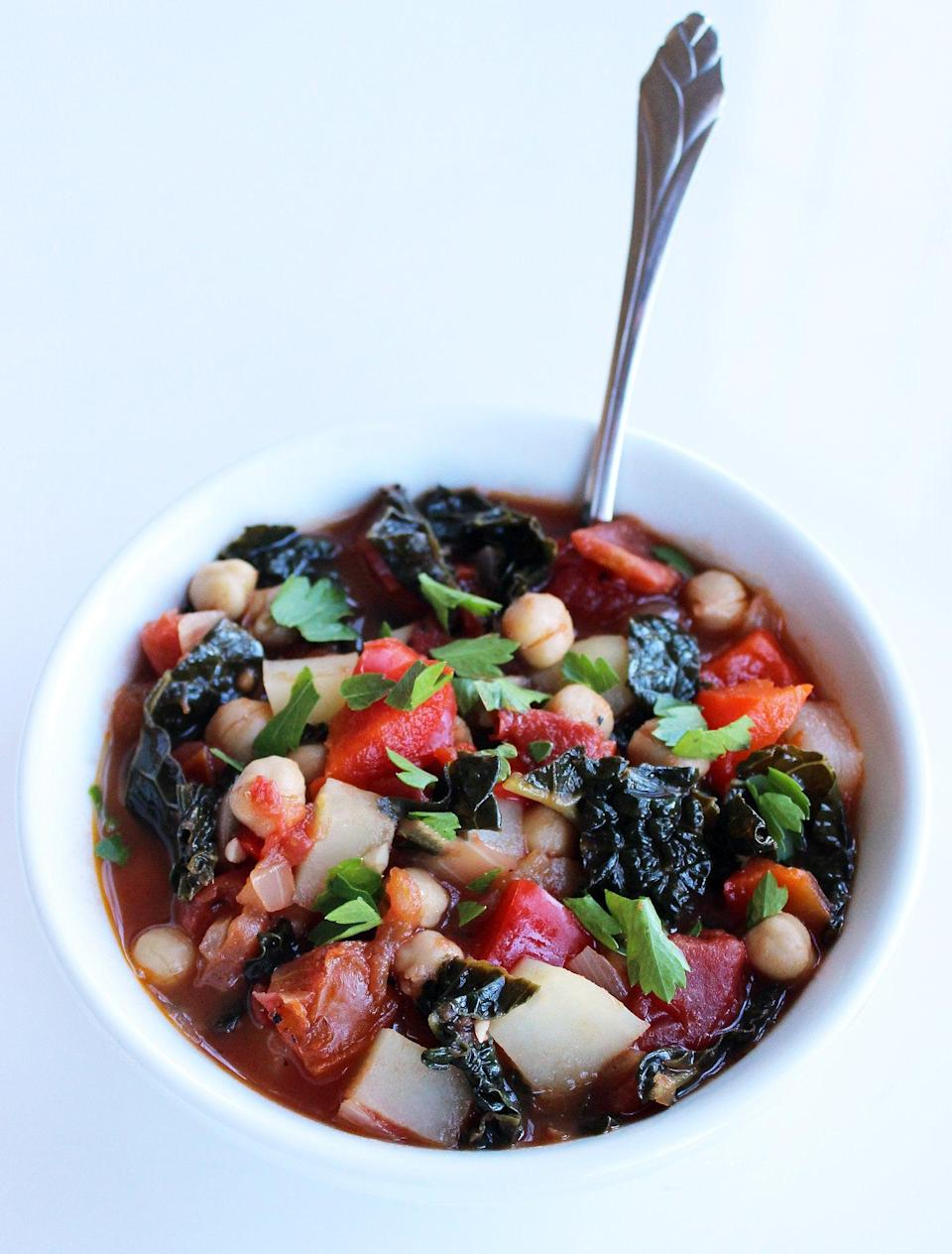 """<p>This metabolism-boosting chickpea and kale soup packs 24 grams of protein per serving, so it will keep you feeling full and satisfied.</p> <p><strong>Get the recipe:</strong> <a href=""""http://www.popsugar.com/fitness/Chickpea-Kale-Soup-36575969/"""" class=""""link rapid-noclick-resp"""" rel=""""nofollow noopener"""" target=""""_blank"""" data-ylk=""""slk:chickpea and kale stew"""">chickpea and kale stew</a></p>"""