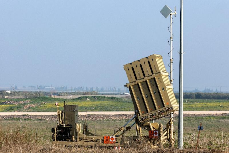 A picture shows an Iron Dome defence system in the Golan Heights on January 20, 2015