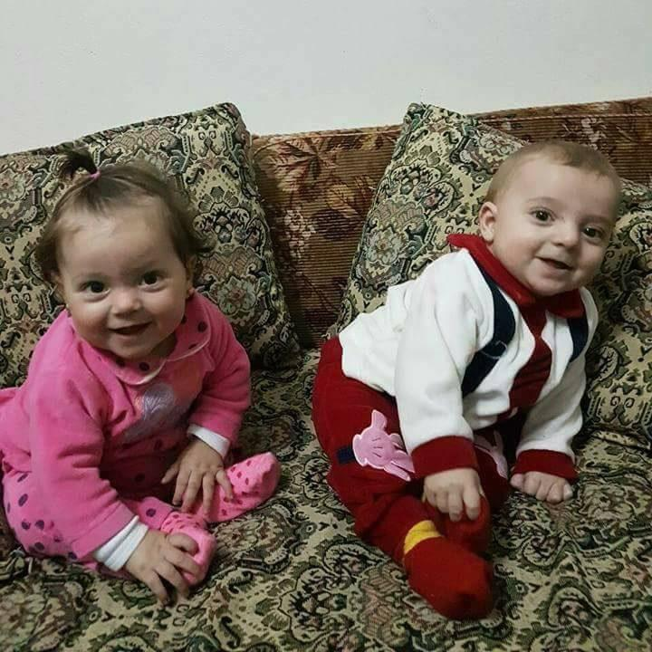 Aya (left) and Ahmad Yussef at their home in Idlib before they died in a Sarin gas attack - Credit: Alaa al-Youssef
