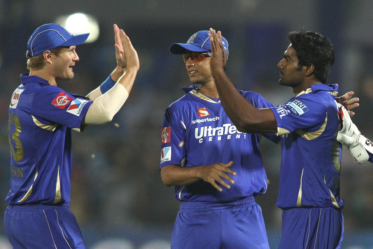 Shane Watson of Rajasthan Royals congratulates Rahul Shukla of Rajasthan Royals for getting Manvinder Bisla of Kolkata Knight Riders wicket during match 8 of the the Pepsi Indian Premier League ( IPL) 2013 between The Rajasthan Royals and the Kolkata Knight Riders held at the Sawai Mansingh Stadium in Jaipur on the 8th April 2013..Photo by Shaun Roy-IPL-SPORTZPICS..Use of this image is subject to the terms and conditions as outlined by the BCCI. These terms can be found by following this link:..https://ec.yimg.com/ec?url=http%3a%2f%2fwww.sportzpics.co.za%2fimage%2fI0000SoRagM2cIEc&t=1492978406&sig=9C8UoL1xQ.Gmc7mO51Pd.g--~C