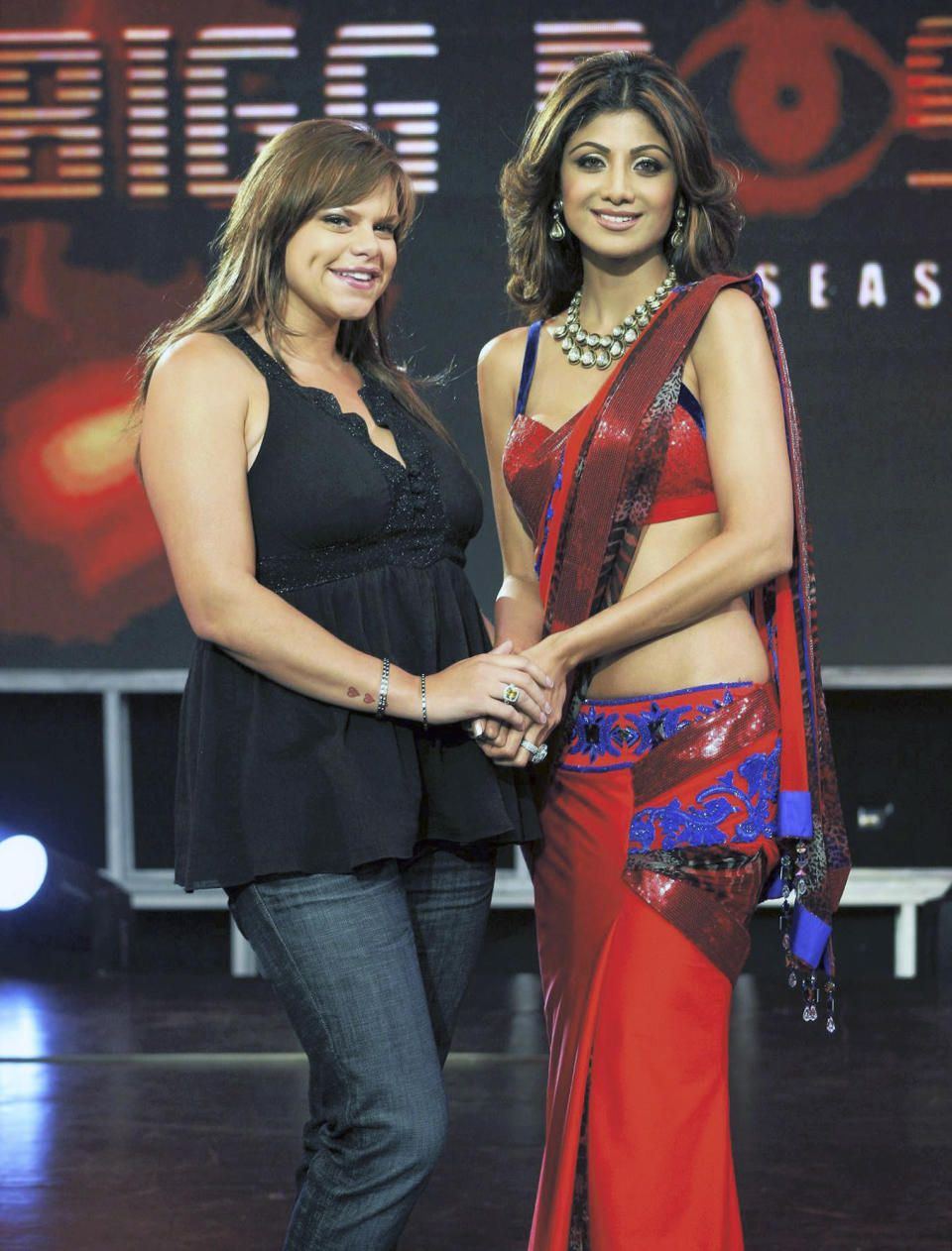 In this Aug.17, 2008 photograph, Indian Bollywood actress Shilpa Shetty, right, is seen with British tabloid celebrity Jade Goody, on the set of the reality show Big Boss, in Mumbai, India. Goody has been diagnosed with cancer and will leave India where she is filming a reality show to receive treatment in London, television officials said Tuesday, Aug. 19, 2008. (AP Photo)