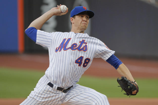 Mets pitcher Jacob deGrom is on the block, but it would take a lot for the team to move him. (AP Photo)