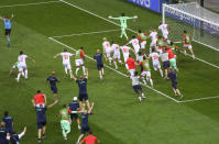 Swiss players celebrate after defeating France 5-4 in a penalty shoot out during the Euro 2020 soccer championship round of 16 match at National Arena stadium, Bucharest, Romania, Tuesday, June 29, 2021. (Daniel Mihailescu/Pool Photo via AP)