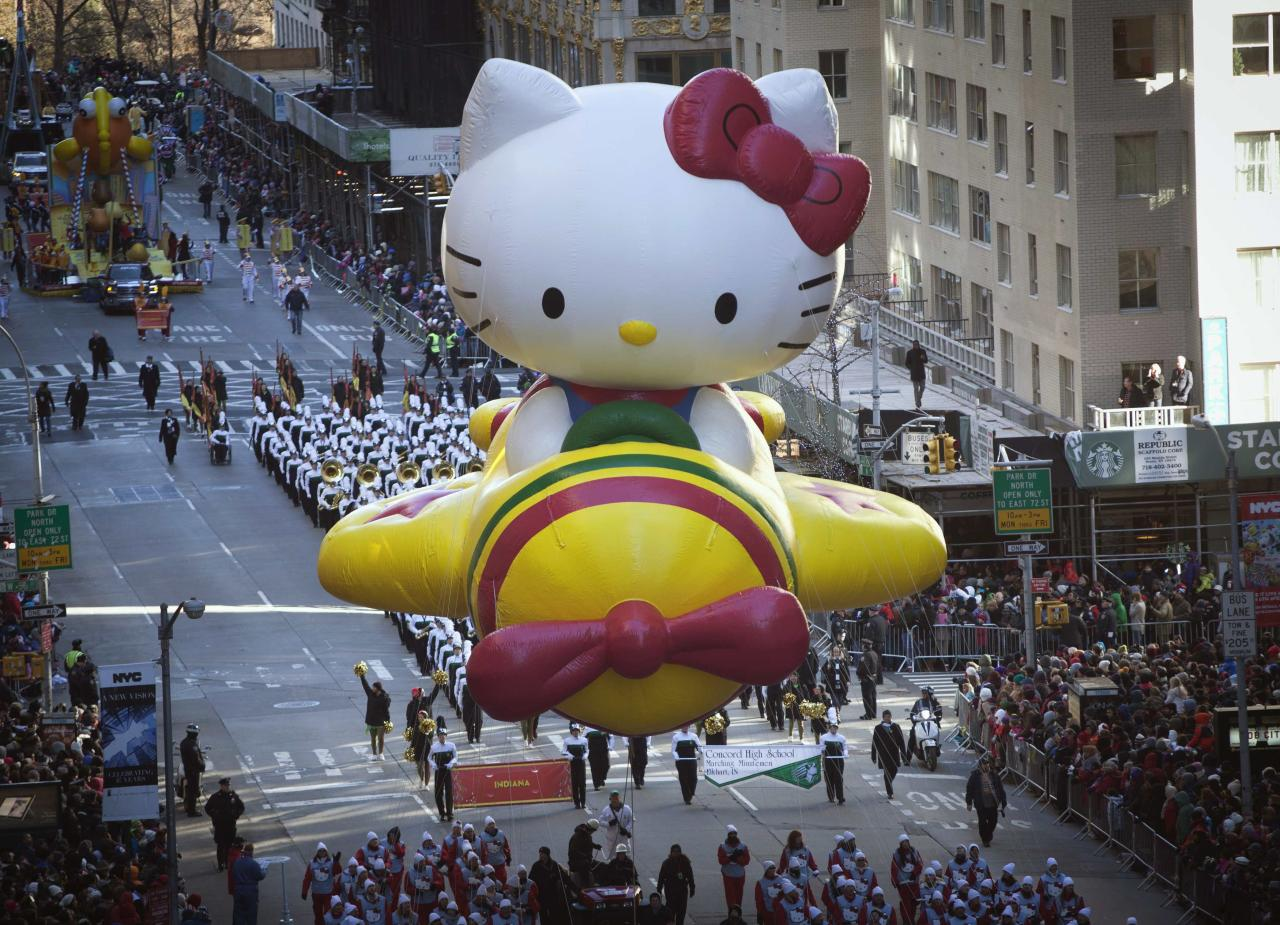 The Hello Kitty balloon float makes its way down 6th Avenue during the 87th Macy's Thanksgiving day parade in New York November 28, 2013. REUTERS/Carlo Allegri (UNITED STATES - Tags: ENTERTAINMENT SOCIETY)