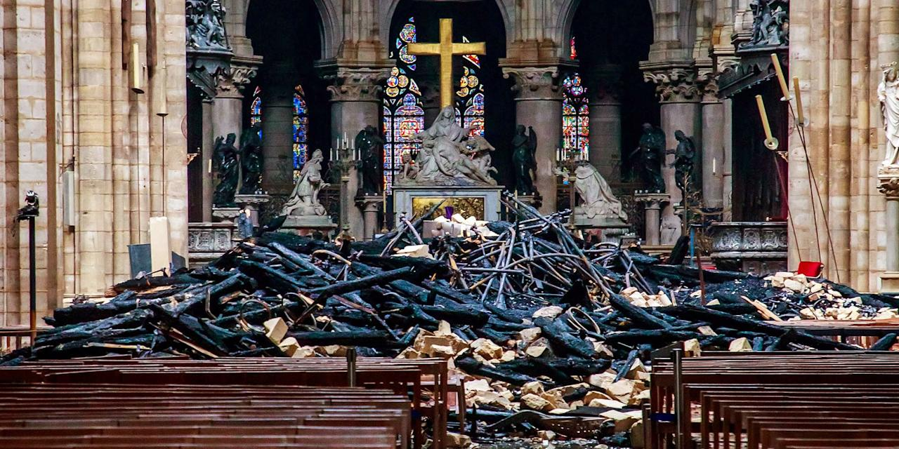 "<p>On Tuesday, the day after a devastating fire ripped through Notre Dame Cathedral, the first photos emerged of the damaged landmark structure in the heart of Paris. The photos reveal the extent of the damages from the blaze, but also offer hope for its inevitable rebuilding. By Tuesday morning, a number of French billionaires had already pledged $300 million to restore the gothic cathedral, which was built in the 12th and 13th centuries. Fire damaged the roof, but officials said the Cathedral remains structurally sound. Investigators are working to determine the cause of the fire and are treating it as an accident at the moment, <a href=""https://www.nytimes.com/2019/04/16/world/europe/notre-dame-fire-investigation.html"" target=""_blank"">according to the <em>New York Times</em></a><em></em>. </p>"
