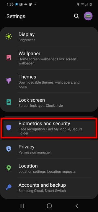 Samsung Phone Select Biometrics and Security