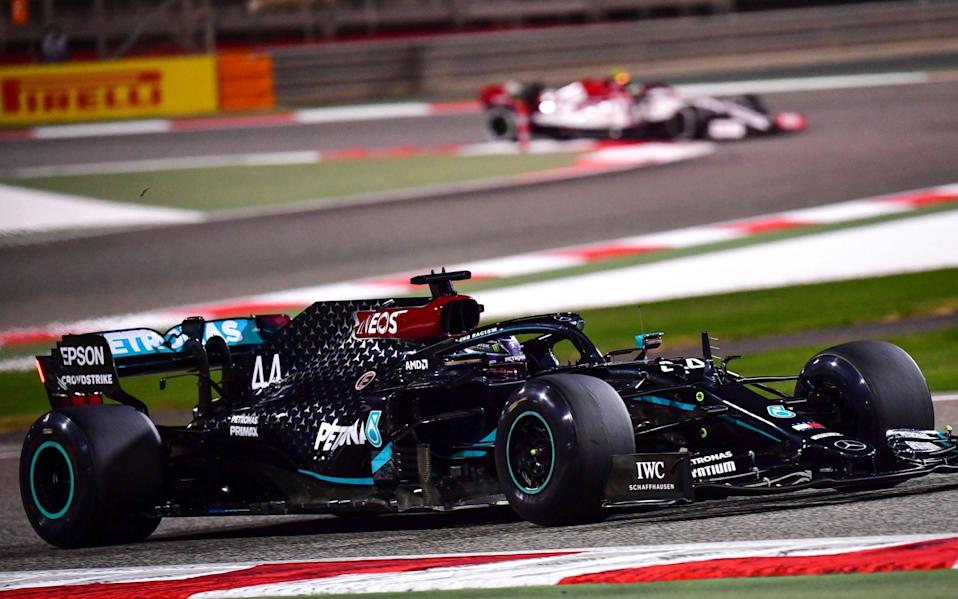 British Formula One driver Lewis Hamilton of Mercedes-AMG Petronas in action during the second practice session of the Formula One Grand of Bahrain on the Bahrain International Circuit in Sakhir, Bahrain 27 November 2020.The Formula One Grand Prix of Bahrain will take place on 29 November 2020 - Giuseppe Cacace/Pool/EPA-EFE/Shutterstock