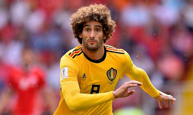 Marouane Fellaini, in action here for Belgium at the World Cup, has said he will announce his future on Sunday.