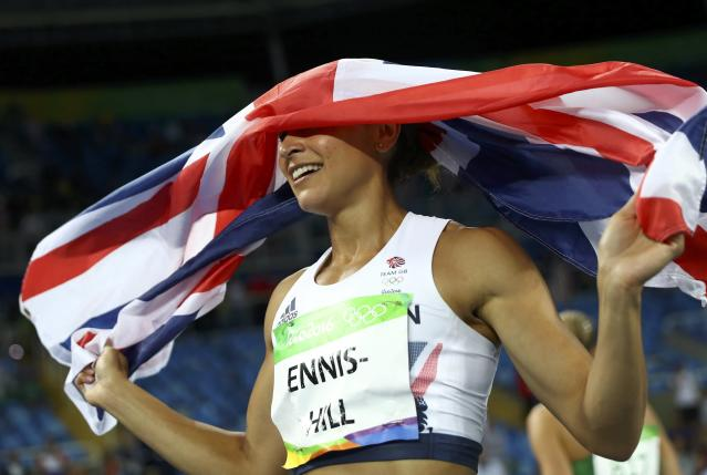 2016 Rio Olympics - Athletics - Final - Women's Heptathlon 800m - Olympic Stadium - Rio de Janeiro, Brazil - 13/08/2016. Jessica Ennis-Hill (GBR) of Britain celebrates after the event. REUTERS/Kai Pfaffenbach FOR EDITORIAL USE ONLY. NOT FOR SALE FOR MARKETING OR ADVERTISING CAMPAIGNS.