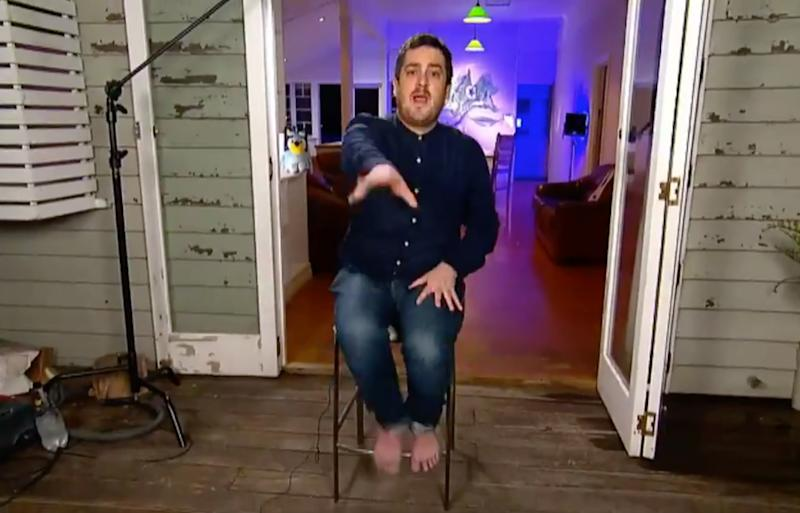 Daley Pearson Bluey bare feet onThe Project