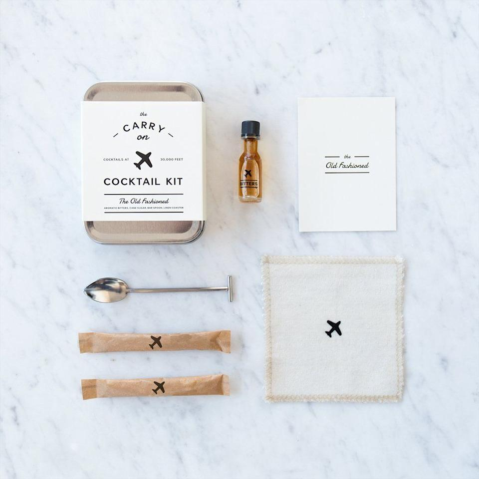 """This kit includes a carry in, recipe card, muddler spoon, aromatic bitters, and cane sugar. <strong><a href=""""https://www.amazon.com/Carry-Cocktail-Kit-Old-Fashioned/dp/B00PSTH5VK"""" target=""""_blank"""" rel=""""noopener noreferrer"""">Get it here</a></strong><a href=""""https://jet.com/product/WandP-Designs-Carry-Kit-The-Old-Fashioned/850b432b733c45febd51cdb211d39c40"""" target=""""_blank"""" rel=""""noopener noreferrer""""></a>."""