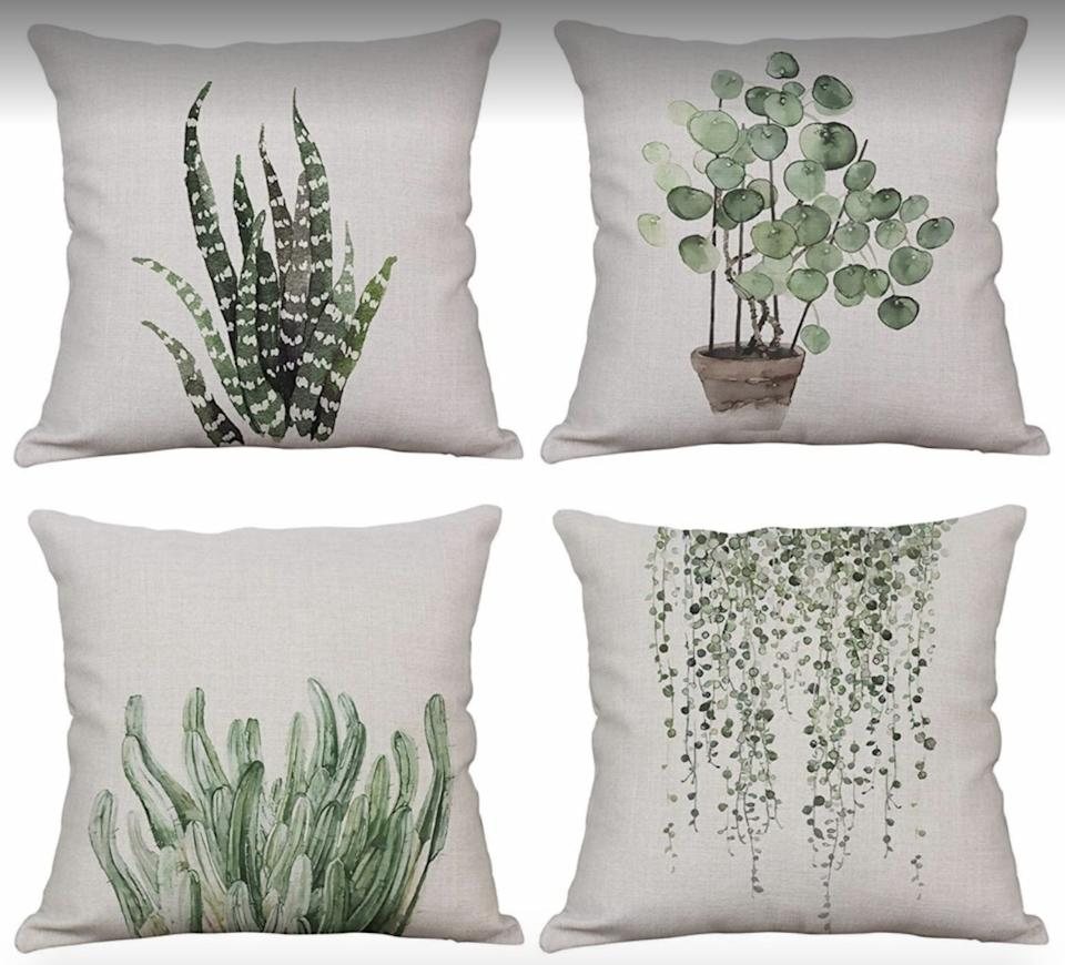 """They'll make your outdoor seating space look a little more comfy and lively.<br /><br /><strong>Promising review:</strong>""""These pillows are so cute!<strong>I bought them originally for my patio and brought them inside due to the rain we've had the past few days and now I'm in love with how they look in my dining room!</strong>Trying to decide whether to buy another set. I absolutely love these covers and the quality is amazing."""" —<a href=""""https://amzn.to/3xsOF0u"""" target=""""_blank"""" rel=""""nofollow noopener noreferrer"""" data-skimlinks-tracking=""""5580838"""" data-vars-affiliate=""""Amazon"""" data-vars-href=""""https://www.amazon.com/gp/customer-reviews/R2W7XIY2NBH3PX?tag=bfgenevieve-20&ascsubtag=5580838%2C27%2C33%2Cmobile_web%2C0%2C0%2C1159952"""" data-vars-keywords=""""cleaning,fast fashion"""" data-vars-link-id=""""1159952"""" data-vars-price="""""""" data-vars-product-id=""""16176944"""" data-vars-retailers=""""Amazon"""">Amazon Customer</a><br /><br /><strong>Get a set of four from Amazon for<a href=""""https://amzn.to/3dNivoJ"""" target=""""_blank"""" rel=""""nofollow noopener noreferrer"""" data-skimlinks-tracking=""""5580838"""" data-vars-affiliate=""""Amazon"""" data-vars-asin=""""B083W7H3MW"""" data-vars-href=""""https://www.amazon.com/dp/B083W7H3MW?tag=bfgenevieve-20&ascsubtag=5580838%2C27%2C33%2Cmobile_web%2C0%2C0%2C1159965"""" data-vars-keywords=""""cleaning,fast fashion"""" data-vars-link-id=""""1159965"""" data-vars-price="""""""" data-vars-product-id=""""16176945"""" data-vars-product-img=""""https://m.media-amazon.com/images/I/51cx+P-+hEL._SL500_.jpg"""" data-vars-product-title=""""YeeJu Set of 4 Green Plant Throw Pillow Covers Decorative Cotton Linen Square Outdoor Cushion Cover Sofa Home Pillow Covers 12x12 Inch"""" data-vars-retailers=""""Amazon"""">$10.99+</a>(available eight sizes and 19 different sets).</strong>"""