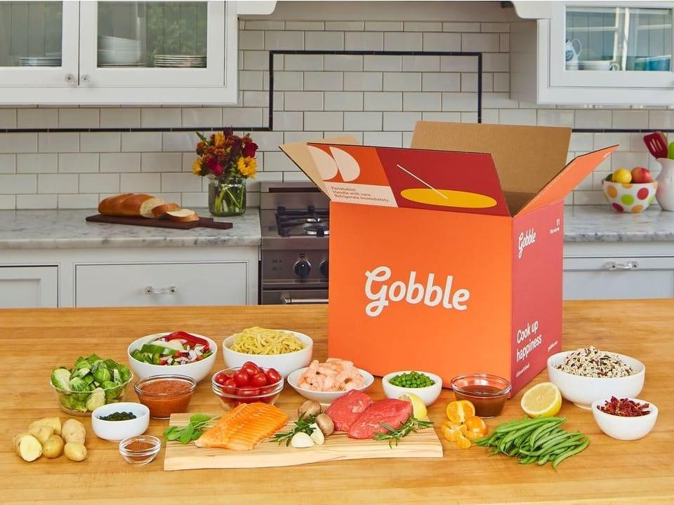 """<h2>Gobble</h2><br><strong>The slogan:</strong> """"Gobble's sous chefs do all the prep work so you can cook a fresh, homemade dinner in just 15 minutes.""""<br><br><strong>What you get:</strong> Choose your meals from Gobble's <a href=""""https://www.gobble.com/menu/"""" rel=""""nofollow noopener"""" target=""""_blank"""" data-ylk=""""slk:diverse weekly menu"""" class=""""link rapid-noclick-resp"""">diverse weekly menu</a>, featuring dishes that can be gluten-free, low carb, meat-based, or veggie. A freshly prepped 15-min dinner kit will arrive at your doorstep brimming with seasonal ingredients. <br><br><strong>The delivery:</strong> No long-term commitment. Skip or cancel at any time. Your <a href=""""https://www.gobble.com/"""" rel=""""nofollow noopener"""" target=""""_blank"""" data-ylk=""""slk:personal delivery date"""" class=""""link rapid-noclick-resp"""">personal delivery date</a> will vary based on your location and your distance to their various distribution centers. <br><br><em>Shop <strong><a href=""""https://www.gobble.com/"""" rel=""""nofollow noopener"""" target=""""_blank"""" data-ylk=""""slk:Gobble"""" class=""""link rapid-noclick-resp"""">Gobble</a></strong></em>"""