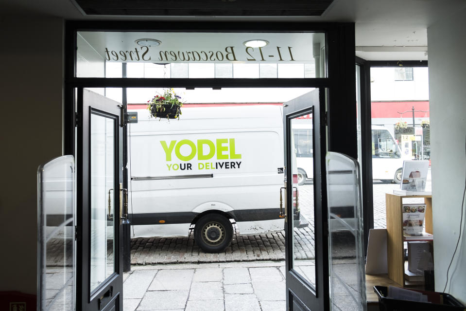 A Yodel delivery van vehicle parked outside a shop store in Truro City centre in Cornwall. (Photo by: Gordon Scammell/Loop Images/Universal Images Group via Getty Images)