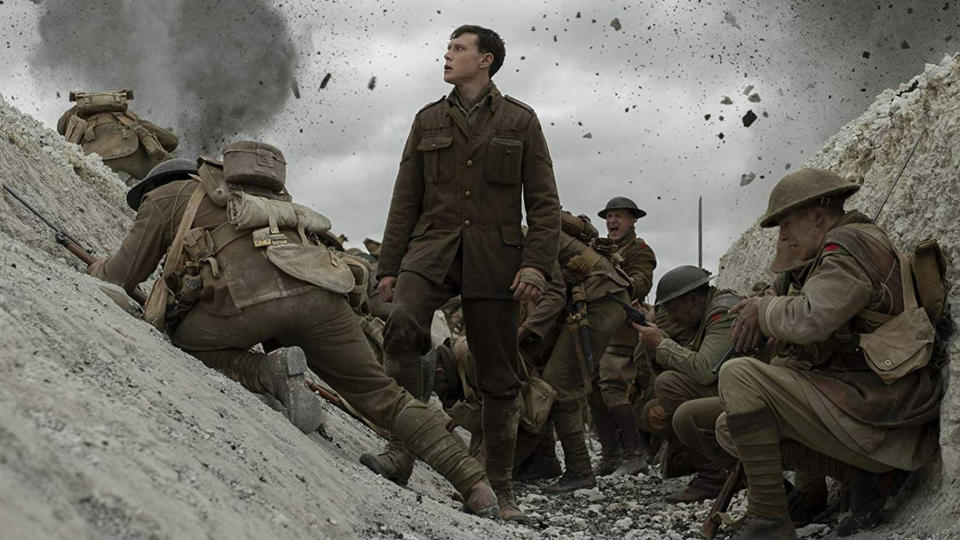 "<a href=""https://uk.movies.yahoo.com/tagged/1917"" data-ylk=""slk:1917"" class=""link rapid-noclick-resp""><em>1917</em></a> is far from the first movie to be constructed with the appearance of a single, bravura take, but it looks like an impressive one. Sam Mendes' movie, set in the trenches of the First World War, is already being <a href=""https://uk.movies.yahoo.com/rave-reviews-for-new-sam-mendes-war-movie-1917-111025277.html"" data-ylk=""slk:tipped for glory at the Oscars;outcm:mb_qualified_link;_E:mb_qualified_link;ct:story;"" class=""link rapid-noclick-resp yahoo-link"">tipped for glory at the Oscars</a>. It worked for <em>Birdman</em>. (Credit: eOne)"