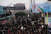 Iranians filled second city Mashhad on Sunday to pay homage to Soleimani