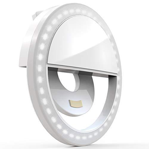 Auxiwa Clip on Selfie Ring Light [Rechargeable Battery] with 36 LED for Smart Phone Camera Roun…