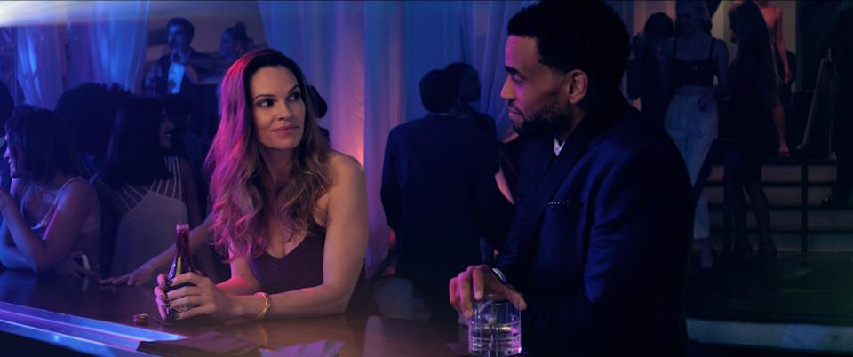 """<p>After a one-night stand, the life of married sports agent Derrick Tyler (played by Michael Ealy) slowly begins to spiral as Valerie Quinlan (<a class=""""link rapid-noclick-resp"""" href=""""https://www.popsugar.com/Hilary-Swank"""" rel=""""nofollow noopener"""" target=""""_blank"""" data-ylk=""""slk:Hilary Swank"""">Hilary Swank</a>) reappears in his life as a police detective who needs his help in her latest investigation.</p> <p><a href=""""https://www.hulu.com/movie/fatale-cf0dafe6-b4f4-43ca-983e-79119c792422"""" class=""""link rapid-noclick-resp"""" rel=""""nofollow noopener"""" target=""""_blank"""" data-ylk=""""slk:Watch Fatale on Hulu."""">Watch <strong>Fatale</strong> on Hulu.</a> </p>"""