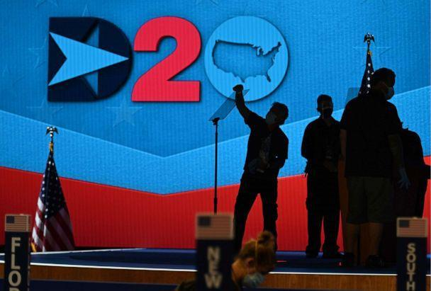 PHOTO: Preparations are made on the stage ahead of the third day of the Democratic National Convention, being held virtually amid the novel coronavirus pandemic, at the Chase Center in Wilmington, Del., Aug. 19, 2020. (Olivier Douliery/AFP via Getty Images, FILE)