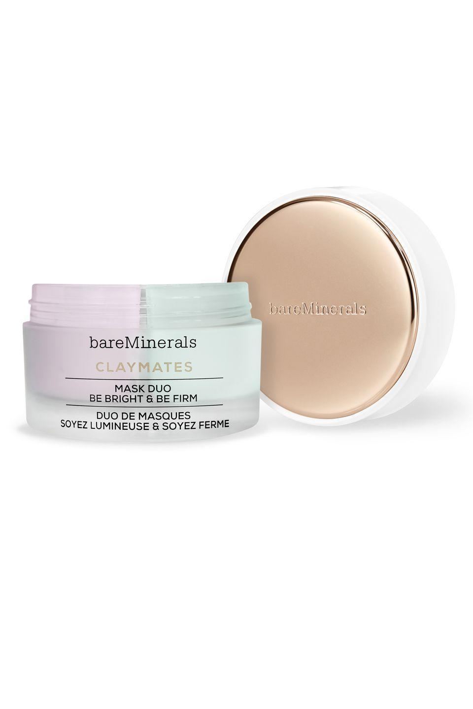 """<p>Use the Be Pure side of this mask on areas of the face that need a deep cleansing - then pop the Be Dewy side onto areas that are dry or red. You'll get targeted results <em>exactly </em>where you need them.</p><p>BareMinerals Claymates Be Pure and Be Dewey Mask Duo, $35, <a href=""""https://www.bareminerals.com/skincare/masks/claymates-be-pure-%26-be-dewy-mask-duo/US86007.html"""" rel=""""nofollow noopener"""" target=""""_blank"""" data-ylk=""""slk:bareminerals.com"""" class=""""link rapid-noclick-resp"""">bareminerals.com</a></p>"""