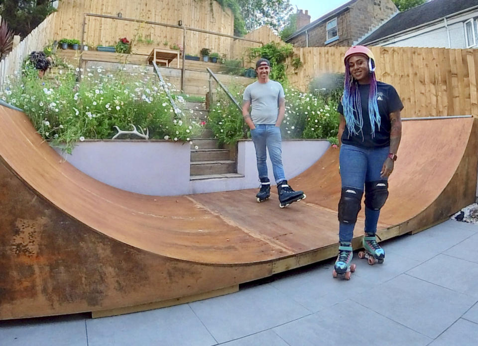 transformed their garden to make room for their dream 18ft roller skating ramp. (@ashmatkingroundworksandlandscaping/Caters)